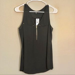 Express Women's Black Shear Tank with Gold Details